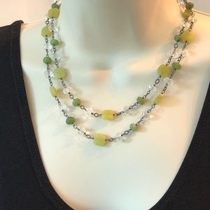 Silpada Sterling Green Olive Jade Toggle Necklace